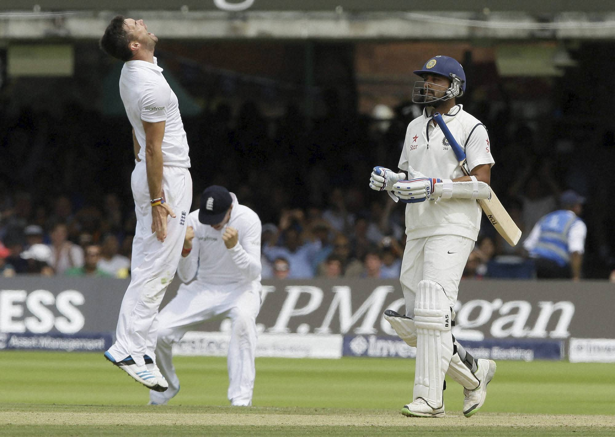 England's, James Anderson, celebrates, wicket, India's  Murali Vijay, fourth day, second test match, England, India, Lord's cricket , London