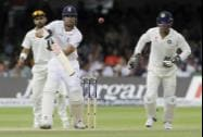 England's Alastair Cook plays a shot off the bowling of India's Ravindra Jadeja