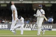 England's James Anderson celebrates the wicket of India's  Murali Vijay