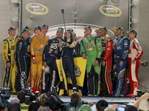 NASCAR Sprint Cup Drivers take a selfie with Miss Sprint Cup Juliana White