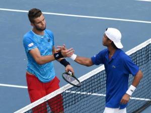 India's Somdev Devvarman greets Czech Republic's Jiri Vesely
