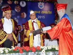 Madhya Pradesh Governor Ram Naresh Yadav honoring students with degrees