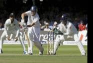 England's Gary Ballance plays a shot off the bowling of India's Ravindra Jadeja
