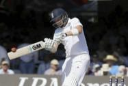 England's Joe Root plays a shot off the bowling of India's Stuart Binny