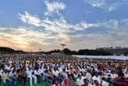 Delhi CM Arvind Kejriwal meets MCD workers at Ramlila Maidan