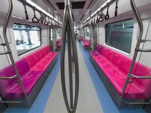 An interior view of Delhi Metro's new train in New Delhi.