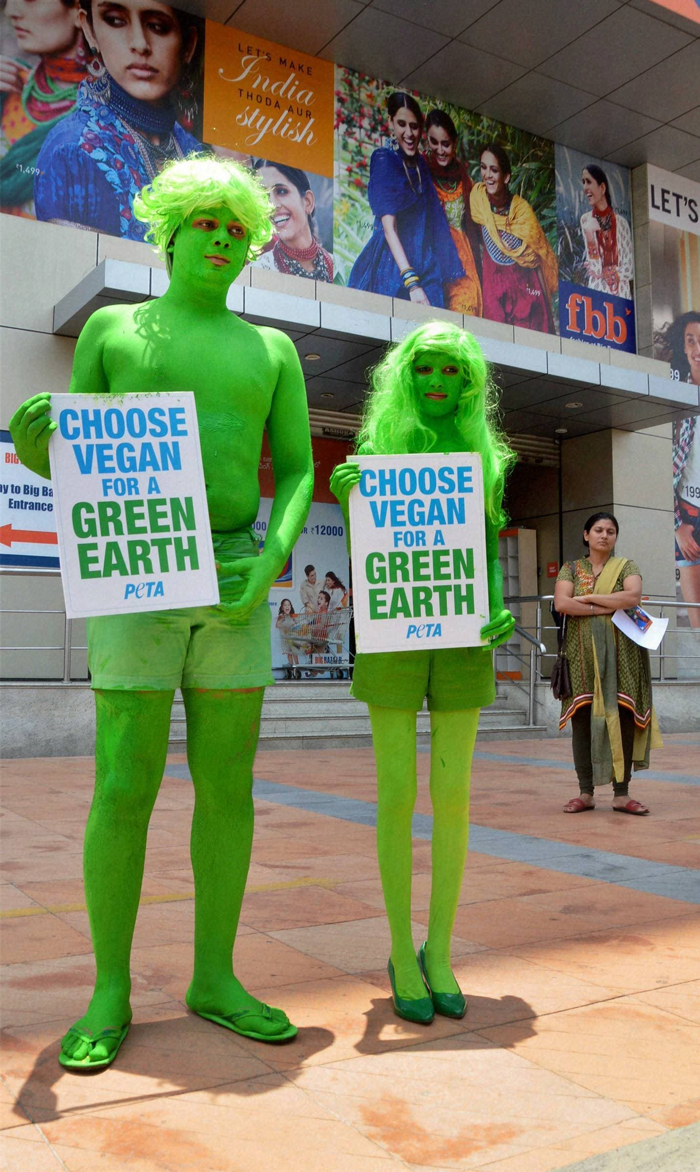 Activists of PETA urge people to go vegeterian on the occasion of the World Earth Day in Hyderabad