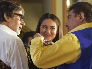 Shatrughan Sinha, Amitabh Bachhan and  Sonakshi Sinha during the book launch of Anything but khamosh, the biography of Shatrughan Shinha