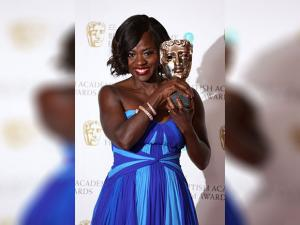 Viola Davis poses with the BAFTA award for Best Supporting Actress for her role in the film 'Fences'