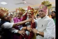 Home Minister Rajnath Singh with the new Maharashtra Chief Minister Devendra Fadnavis