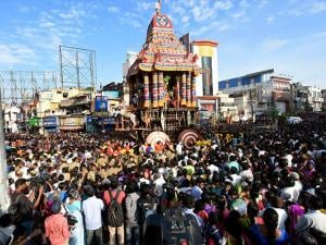 Devotees pulling the temple car as a part of the Chithirai festival of Meenakshi Amman Temple