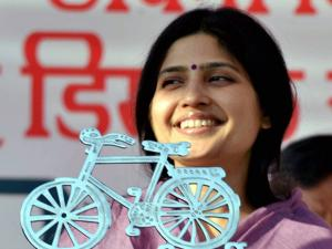 SP MP Dimple Yadav at a campaign rally in support of Congress-SP candidates in Agra