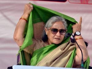 SP MP Jaya Bachchan at a campaign rally in support of Congress-SP candidates in Agra