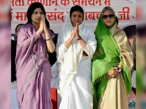 SP MPs Dimple Yadav and Jaya Bachchan at a campaign rally in support of Congress-SP candidates in Agra