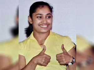 Dipa Karmakar during a felicitation program in Kolkata