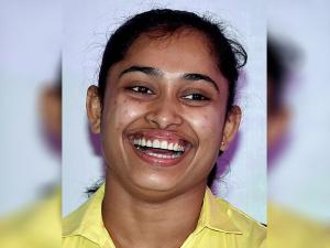 Gymnast Dipa Karmakar during a felicitation program in Kolkata