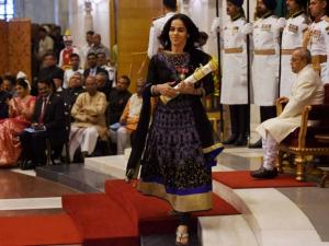 Badminton star Saina Nehwal receives Padma Vibhushan award  by President Pranab Mukherjee during Padma Awards 2016 function at Rashtrapati Bhavan