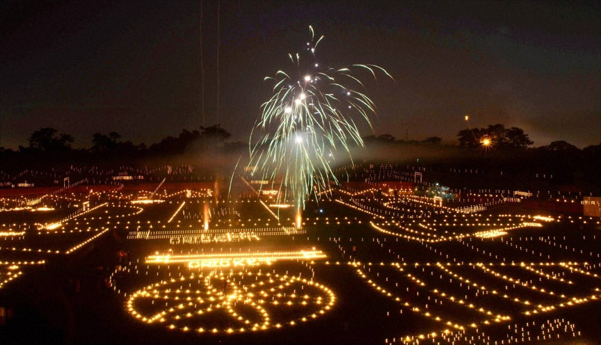 view, decorated, Madan Mohan Malviya Stadium, oil lamps,  Deepwali, festival, celebration, Allahabad