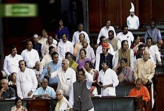 BJP MPs in the Lok Sabha in New Delhi on Tuesday