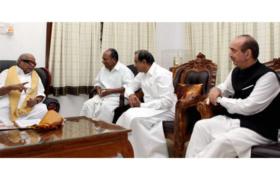Union Ministers AK Antony, Ghulam Nabi Azad and P Chidambaram meet DMK chief M Karunanidhi at his residence in Chennai on Monday