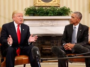 Donald Trump speaking to President Barack Obama