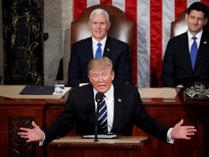 President Donald Trump addresses a joint session of Congress on Capitol Hill in Washington
