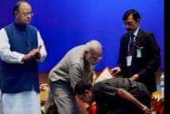 Scientist R S Chandrasekhar seeks blessing from Prime Minister Narendra Modi