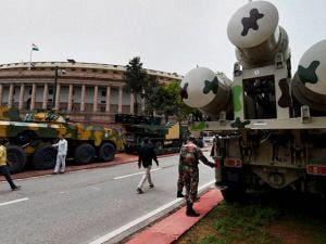 Army tank and other equipments on display at Parliament House in New Delhi