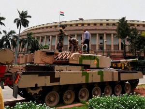Army tank and other equipments on display, at Parliament House in New Delhi