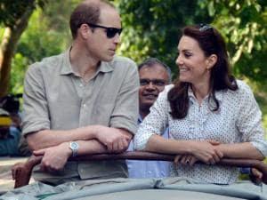 Prince William, Duke of Cambridge and his wife Catherine (Kate), Duchess of Cambridge enjyoing the jeep safari  inside the Kaziranga National Park of Assam