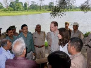Prince William, Duke of Cambridge and his wife Catherine (Kate), Duchess of Cambridge  interacts with forest officials at Bimoli camp in Kaziranga National Park,  Assam