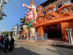 A 60-feet idol of Ganesha being prepared for Durga Puja in Guwahati