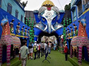 Community Durga Puja pandal in the shape of an Elephant in Kolkata