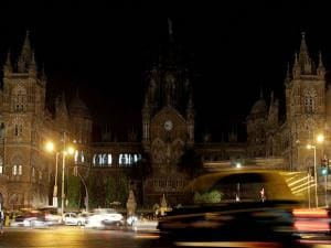 Historic railway station Chhatrapati Shivaji Maharaj Terminus is seen After Earth Hour, in Mumbai