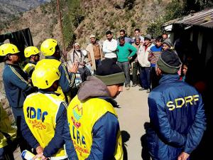 SDRF team at the earthquake affected Kalimath Village in Rudraprayag district of Uttarakhand