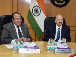 Chief Election Commissioner Nasim Zaidi with Election Commissioners AK Joti