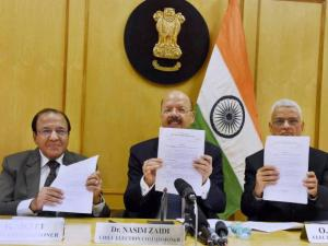Chief Election Commissioner Nasim Zaidi with Election Commissioners AK Joti and OP Rawat