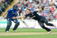 New Zealand's  Matt Henry attempts to catch of his bowling watched by England's Joe Root