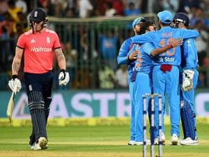 India's Amit Mishra with team mates celebrate the wicket of Jason Roy during the 3rd T20 between India and England