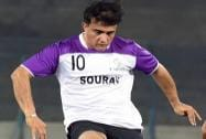 Former Indian cricket captain and co-owner of ISL franchise Atletico de Kolkata Sourav plays