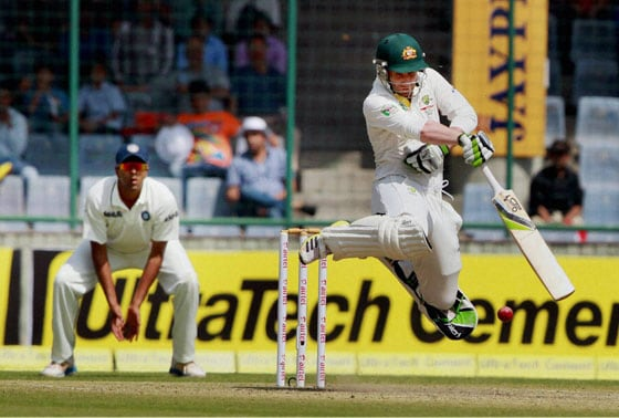 Australia's Philip Hughes in action against India