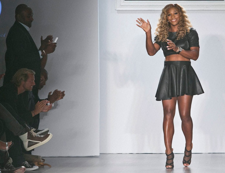 Serena Williams, acknowledge, cheers, showing, Spring, 2015 collection, Fashion Week 2014, New York