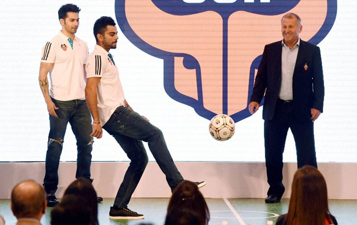 Cricketer, Virat Kohli, juggles, football, SL franchise, FC Goa's, coach, Zico, actor Varun Dhawan, press conference , Mumbai