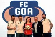FC Goa's coach Zico and marquee player Robert Pires along with Nita Ambani