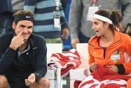 Sania Mirza and Roger Federer during their mix doubles match against Singapore Salmmers