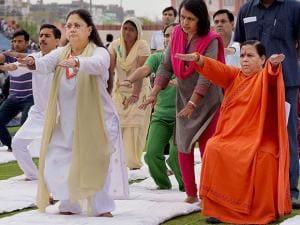 Vasundhara Raje, Rajasthan Chief Minister and Uma Bharti, Minister of Water Resources, River Development and Ganga Rejuvenation in Jaipur 01