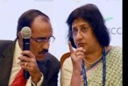 KR Kamath, CMD of Punjab National Bank and Arundhati Bhattacharya, Chairperson of SBI
