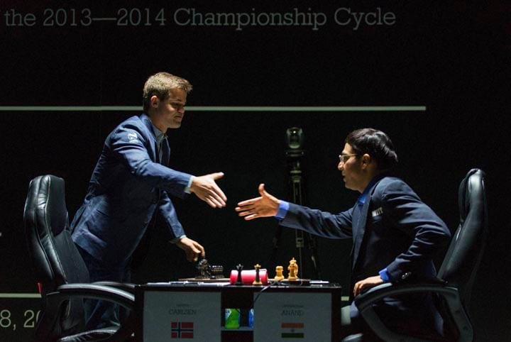 Norway's, Magnus Carlsen, currently, top ranked, chess player, world, against, India's, former World Champion, Vishwanathan Anand, FIDE World Chess Championship Match, Sochi, Russia