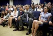 President Barack Obama watches the U.S. vs. Belgium World Cup soccer game at the Eisenhower.