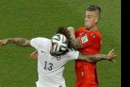 USA Jermaine Jones and Belgium's Toby Alderweireld challenge for the ball during the World Cup